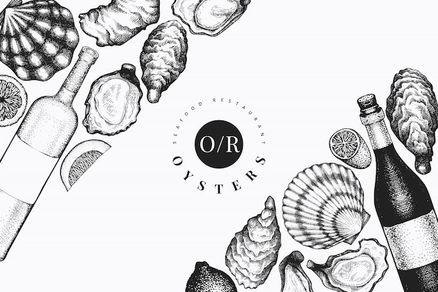 Oysters and wine design template. hand drawn vector illustration. seafood banner. can be used for design menu, packaging, recipes, label, fish market, seafood products. Premium Vector