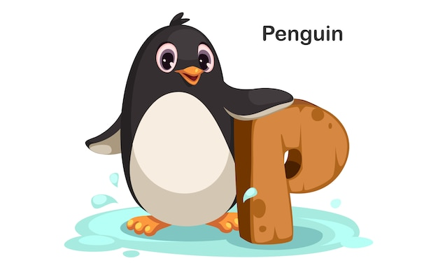 P for penguin Premium Vector