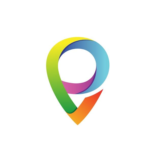 Буква p с указателем shape logo vector Premium векторы