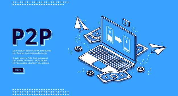 P2p isometric landing page, peer-to-peer lending, transfer money. one-rank and client server network, business concept. laptop and money bills around on blue background, 3d line art web banner Free Vector