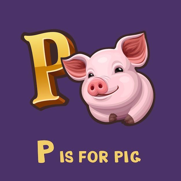 Детский алфавит буква p и свинья Premium векторы