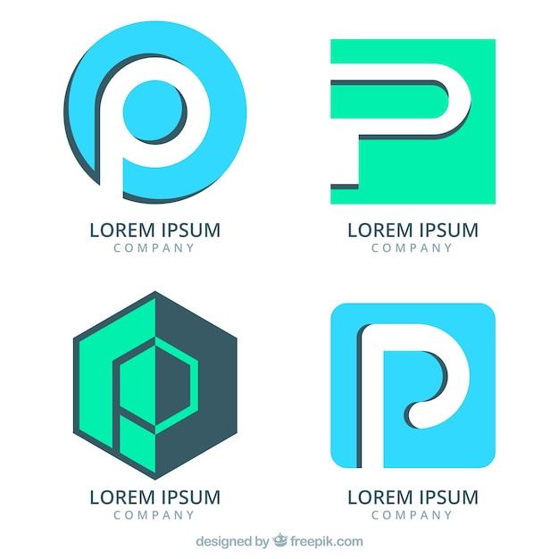 手紙pで抽象的なロゴのパック 無料ベクター