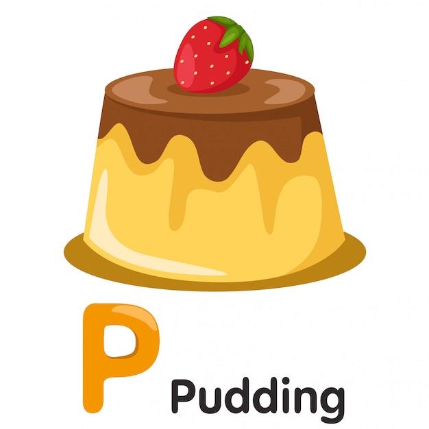 Иллюстратор шрифта p с пудингом Premium векторы