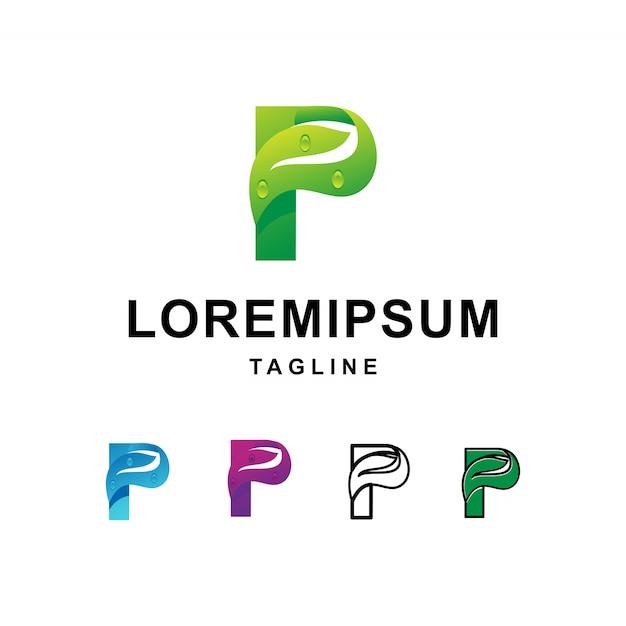 文字pロゴデザインとモダンな葉 Premiumベクター