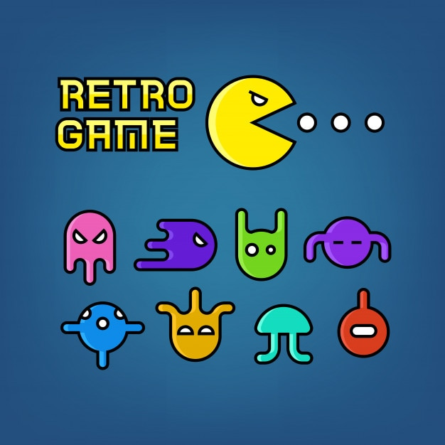 Pac man and ghosts for arcade computer game vector set Premium Vector