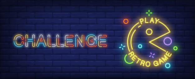 Pac man petro game neon style banner on brick background. Free Vector