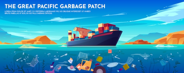 Pacific ocean plastic garbage patch banner with container ship and trash floating underwater surface. Free Vector