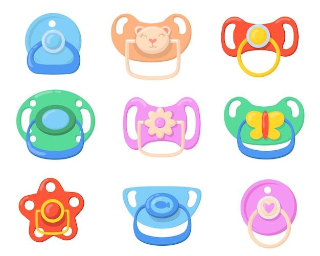 Набор иконок соски для младенцев. разноцветные пластиковые пустышки для маленьких детей с ручками в виде бабочек, мишек, цветов. векторные иллюстрации для детства, отцовства, концепции ухода за ребенком Бесплатные векторы