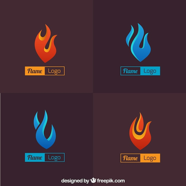 Pack of abstract flame logos Free Vector