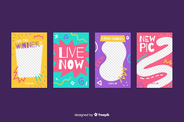Pack of abstract instagram stories template Free Vector