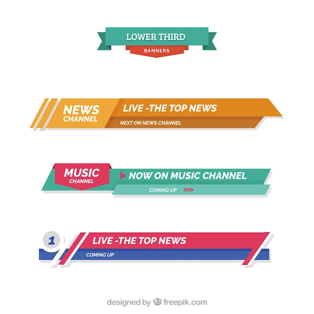 Pack Abstract News Lower Third Vector Free Download