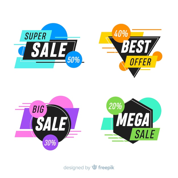 Pack of abstract special offer banners Free Vector