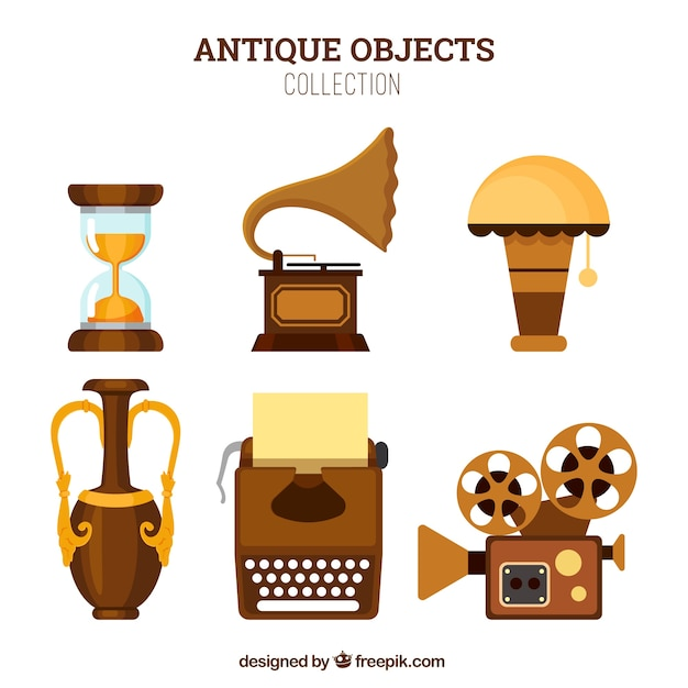 Pack of ancient objects in flat design Free Vector