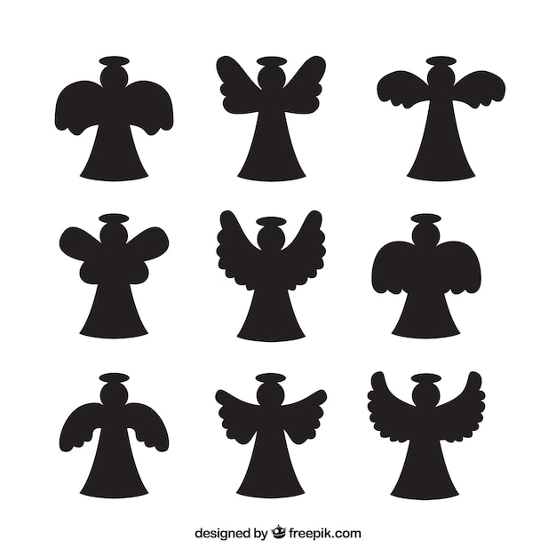 Pack of angel silhouettes Premium Vector