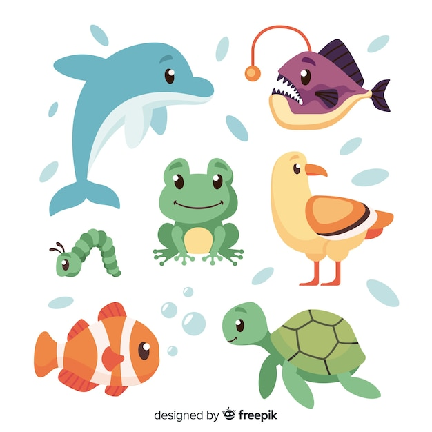 Pack of animals in children's style Free Vector