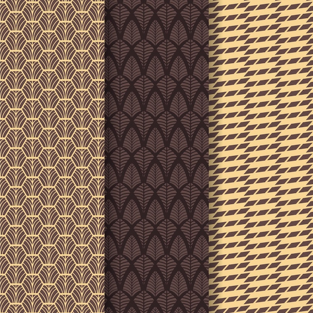 Pack ofart deco seamless pattern Free Vector