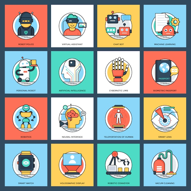 Pack of artificial intelligence flat vector icons Vector