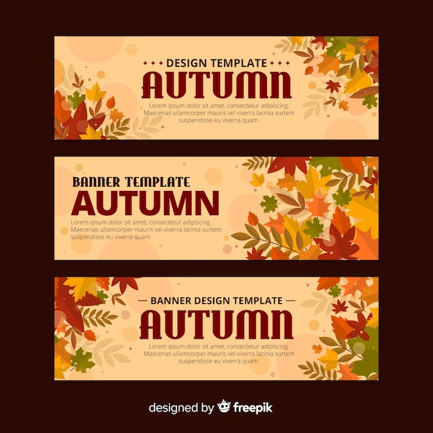 Pack of autumn banners flat style Free Vector