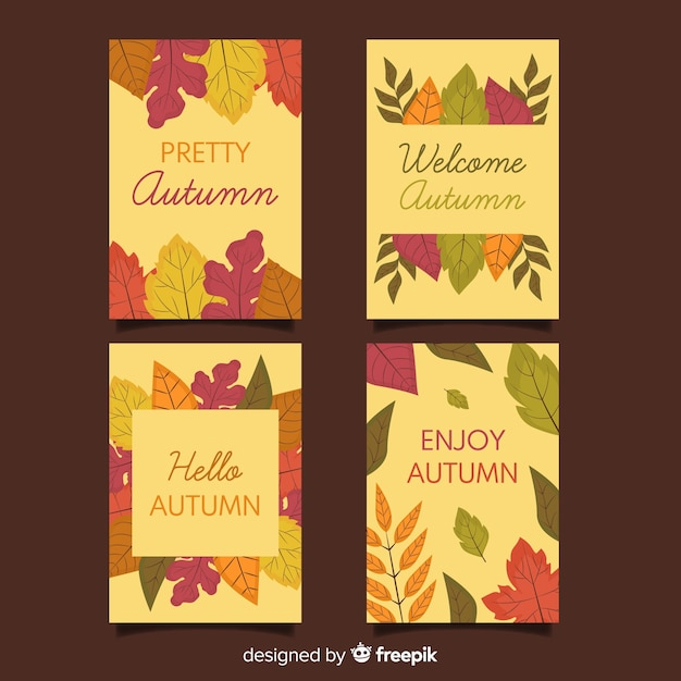 Pack of autumn cards flat design Free Vector