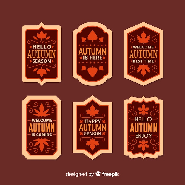 Pack of autumn labels flat style Free Vector