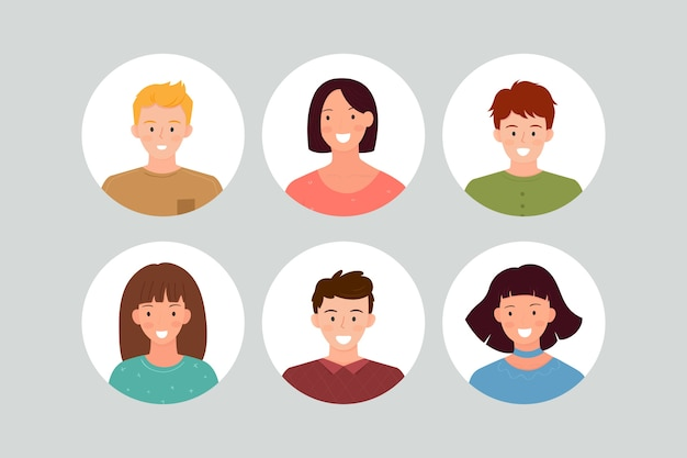 Pack of avatars for different people Free Vector