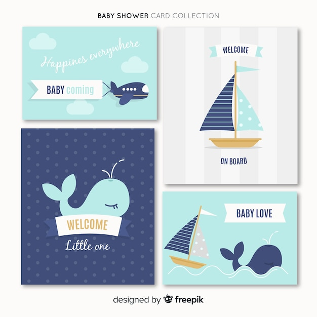 Pack of baby shower cards Free Vector