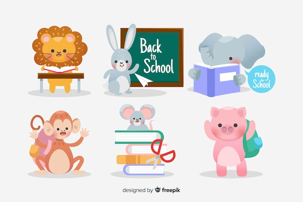 Pack of back to school animals Free Vector