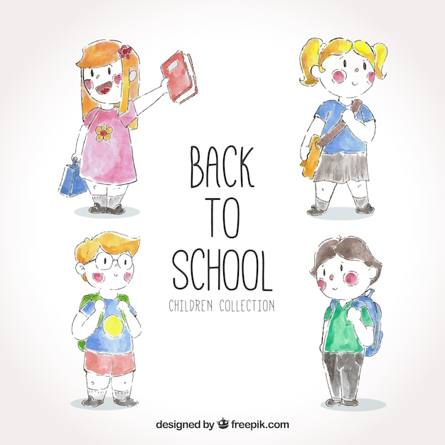 Pack back to school with watercolor children