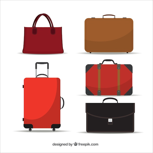 Pack bag and suitcases Free Vector