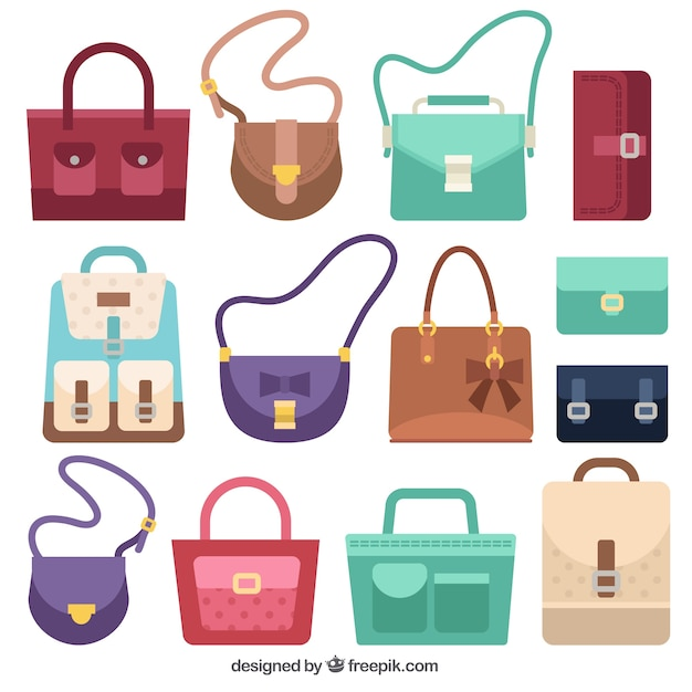 Pack of bags with different styles Free Vector