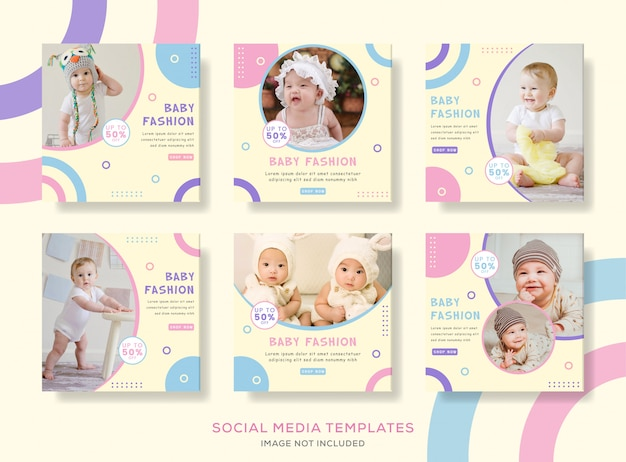 Pack banner post for cute baby fashion. Premium Vector