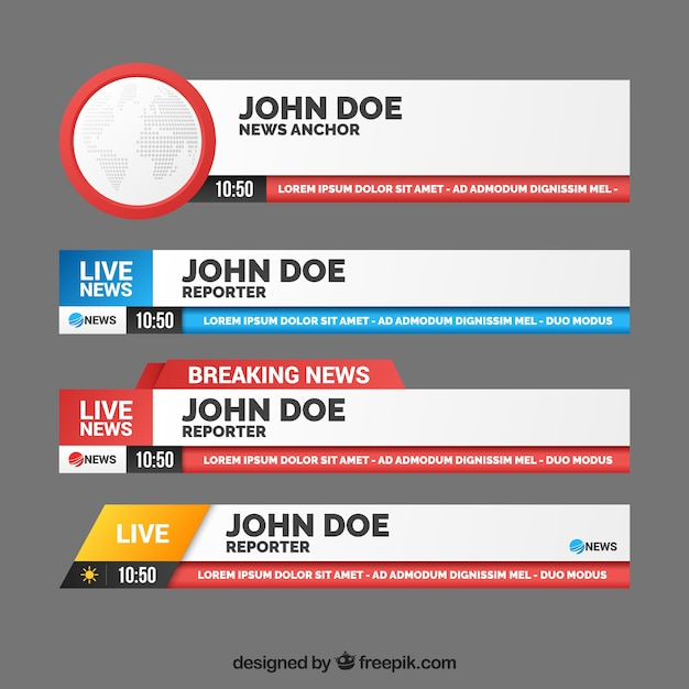 Pack of banners for breaking news Free Vector