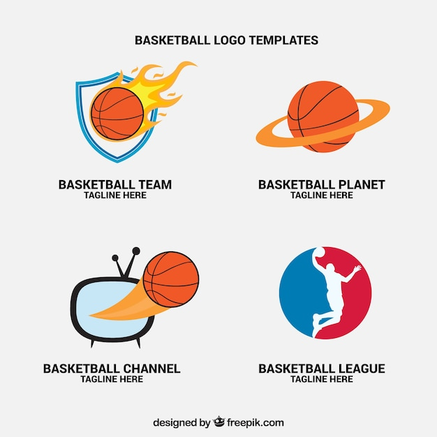 Pack of basketball tv channel logos Free Vector