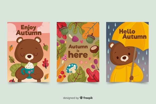 Pack of bear autumn cards Free Vector