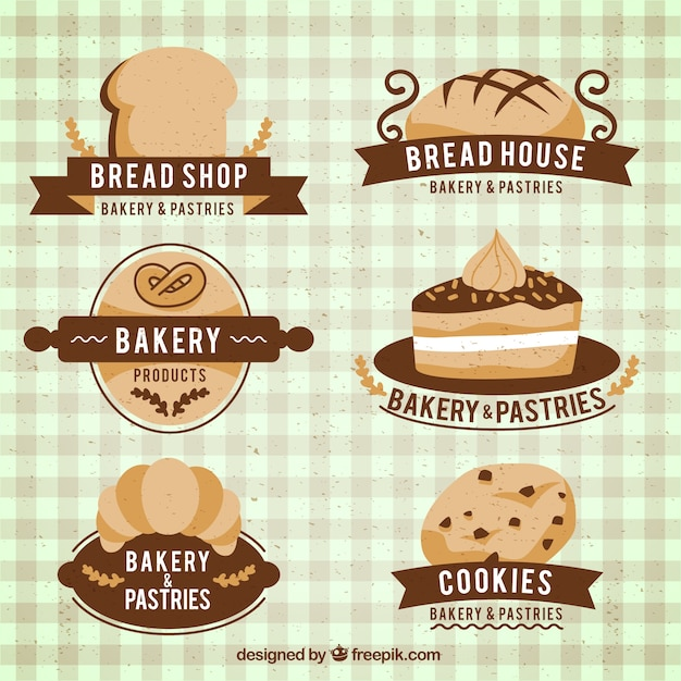 Pack of beautiful baked products badges Free Vector