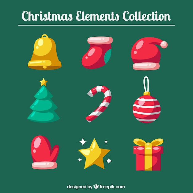 Pack of beautiful christmas decoration Free Vector