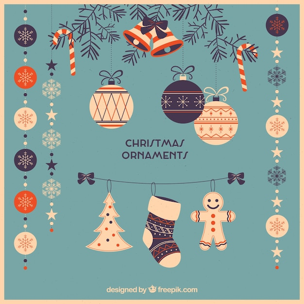 Pack of beautiful retro christmas ornaments in flat design Free Vector