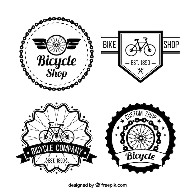 Pack of bicycles badges in retro style Free Vector