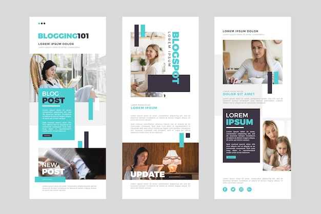 Pack of blogger email template with photos Free Vector