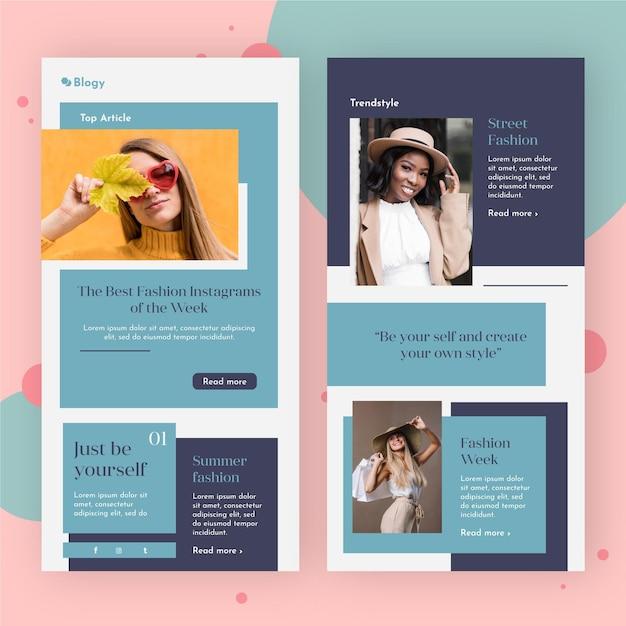 Pacchetto di modello di email di blogger con foto Vettore gratuito