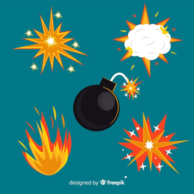 Pack of bombs and explosion effects Free Vector
