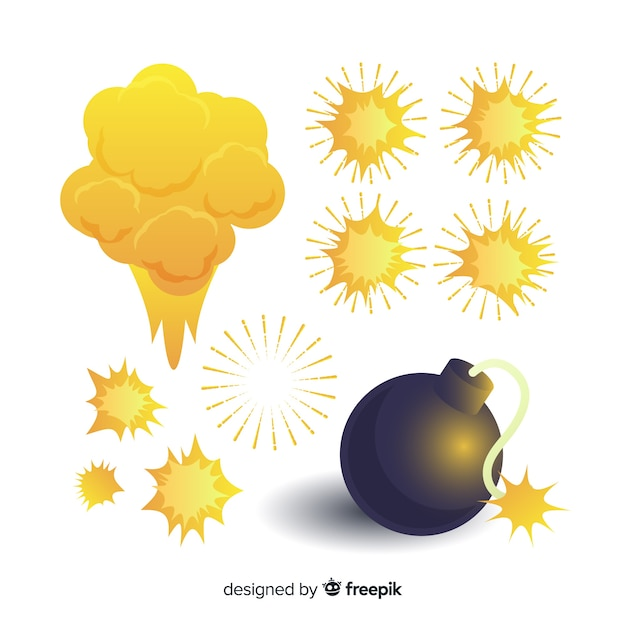 Pack of bombs and explosions cartoon style Free Vector