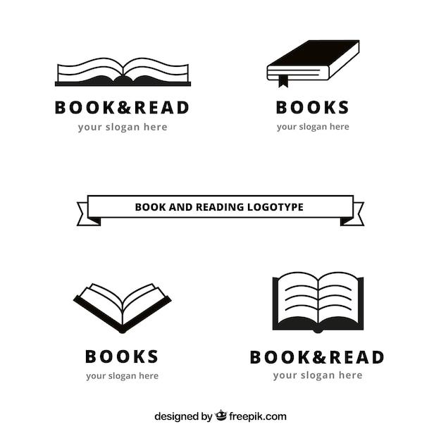 Pack of book logos Free Vector