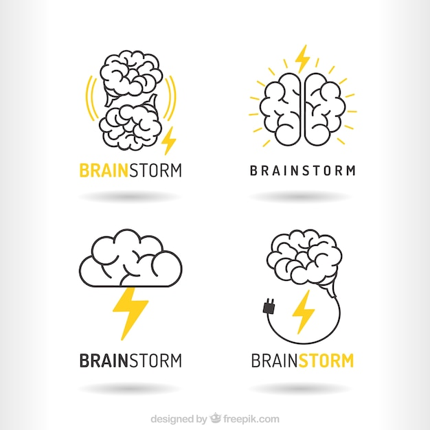 Pack of brainstorm logos Premium Vector