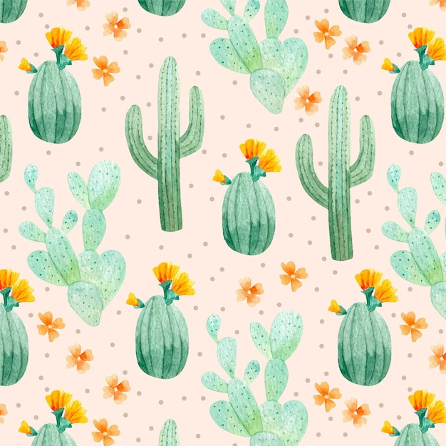 Pack of cactus plants pattern Free Vector