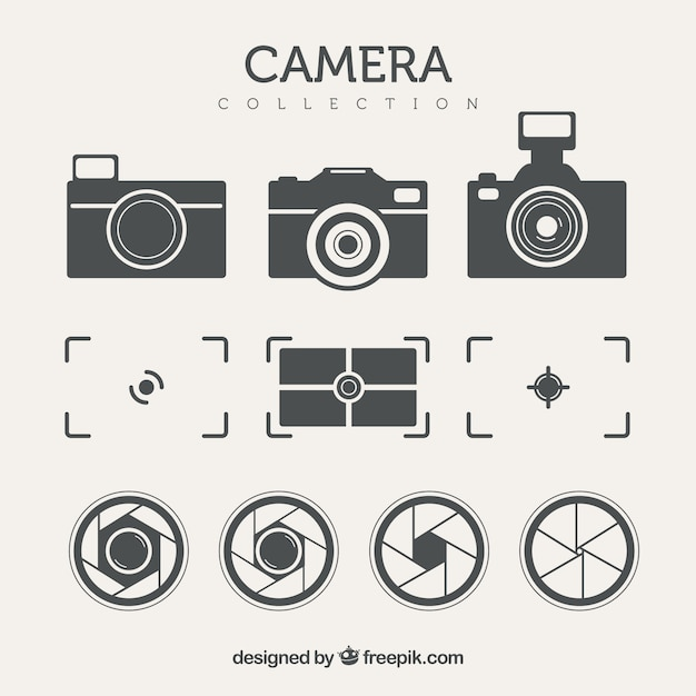 Pack of cameras and other elements in retro style Free Vector