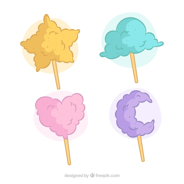 Pack candy cotton with hand drawn shapes