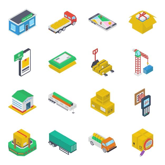Pack of cargo iometric icons Premium Vector