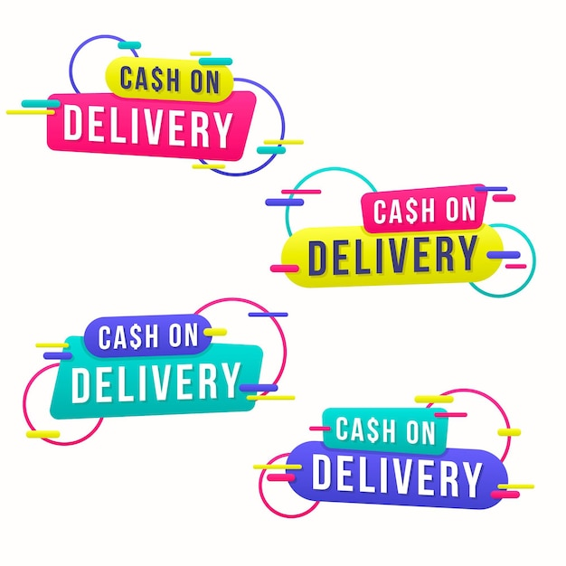 Pack of cash on delivery badges Premium Vector