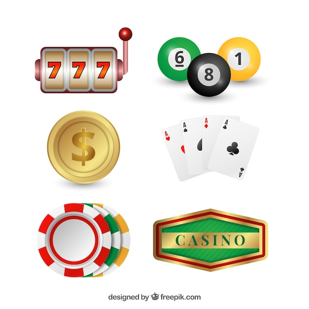 Pack of casino objects Free Vector